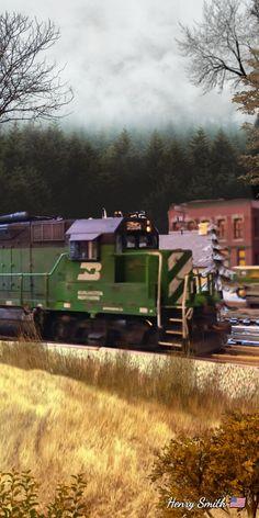 Burlington Northern, Train, Trains, Strollers