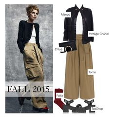 """""""Fall Fashion: Wide Leg Pants"""" by tracey-mason ❤ liked on Polyvore featuring MANGO, Tome, Chanel, Chloé, Falke and Topshop"""