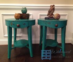 """Whimsied & Distressed Oval End Tables 21""""x25""""x25""""ht $250.00 for set Hand painted ASCP Florence w/dark wax, distressed"""
