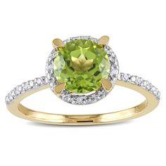 Miadora 10k Yellow Gold 1 1/2ct TGW Peridot and Diamond Accent Cocktail Ring (Size 9), Women's, Green