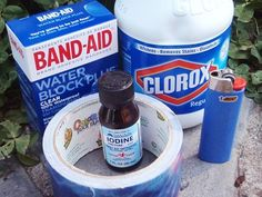 "Survival Gear: ""$2 Items That Will Save Your Life"". 1-Iodine Tincture, 2-Bic Lighter, 3-Clorox (pint & a half bottle), 4-small box of 5-Bandaids & Duct Tape. (Explanations for use on website. :)"
