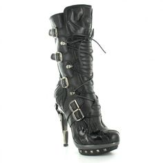New Rock PUNK023-S1 Womens Leather High Heel Mid-Calf Boots in Black... ($400) via Polyvore