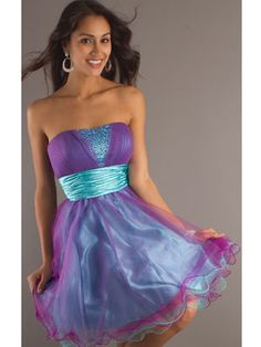 Not all prom dresses have to be long! This short strapless dress is really pretty!