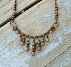 Antiqued Copper with Dusky Purple Aventurine Wire Wrapped Necklace with stone bead dangles