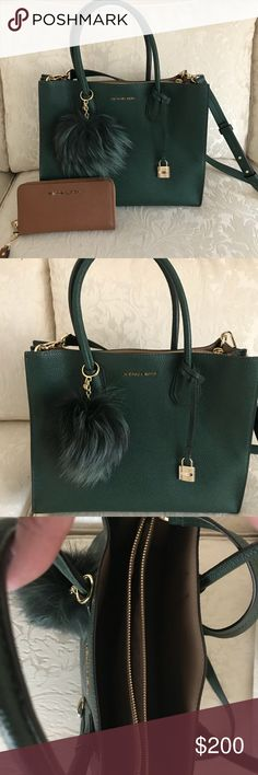 """Michael Kors Mercer Tote. Michael Kors Mercer Tote.  Fox Fur Pom Pom Charm Included  Dust Bag Included  See other post for wallet - Will bundle   100% Full-Grain Pebbled Leather  Gold-Tone Hardware  12.5""""W X 9.75""""H X 5.5""""D  Handle Drop: 6.5""""  Adjustable Strap: 22""""-25"""" Michael Kors Bags Totes"""