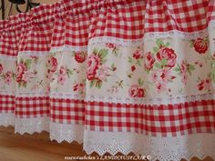 New Sewing Projects Curtains Fun Ideas Shabby Chic Kitchen Curtains, Kitchen Curtains And Valances, Gingham Curtains, Cute Curtains, No Sew Curtains, Window Valances, Rideaux Design, Curtain Designs, Sewing Rooms