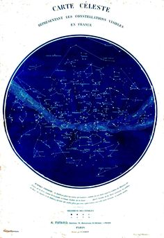 Science – Astronomy – Map – Celestial map of constellations visible from France 19th C