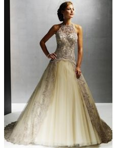 Sexy Yellow Halter Ball Gown Sleeveless Lace-up Wedding Dress