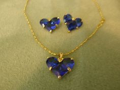 'Royal Blue Created Saphire 18K White Gold Plated Necklace and Earriing set' is going up for auction at 10am Tue, Jun 19 with a starting bid of $10.