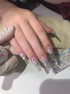 Nail art Christmas - the festive spirit on the nails. Over 70 creative ideas and tutorials - My Nails Aycrlic Nails, Prom Nails, Long Nails, Coffin Nails, Gorgeous Nails, Pretty Nails, Clear Acrylic Nails, Clear Glitter Nails, Transparent Nails