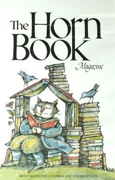 Arnold Lobel American / poster of 1987 The Horn Book Magazine cover depicts Whiskers & Rhymes children's book cat character reading book in house built of books / Eric Carle Museum of Picture Book Art, Amherst, MA, USA