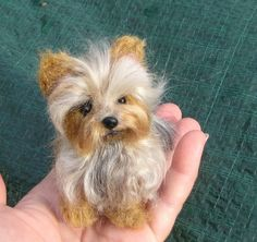 Items similar to Needle Felted Dog / Custom Miniature Sculpture of your pet / poseable / example Yorkshire Terrier Yorkie on Etsy Needle Felted Animals, Felt Animals, Animals And Pets, Baby Animals, Cute Animals, Wet Felting, Needle Felting, Yorshire Terrier, Yorkies