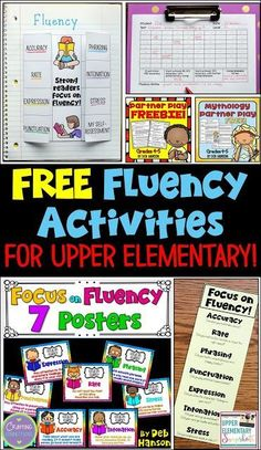 Focusing on Fluency in the Upper Elementary Classroom Activities to help build reading fluency in your upper elementary classroom! Multiple FREE printables, including posters, bookmarks, partner plays, and more! Reading Fluency Activities, Teaching Reading, Guided Reading, Reading Strategies, Teaching Ideas, 4th Grade Reading Games, Ell Strategies, Reading Aloud, Fluency Practice