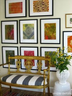 Simple Details: diy framed batik fabric gallery wall - LOVE those colours and patterns