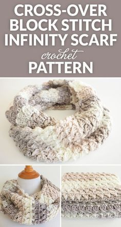 This Cross-Over Stitch Infinity Scarf is the perfect thing to keep you warm this winter. It also makes a perfect gift for a special someone this Christmas. #crochet #crochetlove #crochetaddict