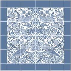 Strawberry Thief, William Morris's most popular design, as a square or rectangular large backsplash, as well as border tiles. Morris designed Strawberry Thief as he watched thrushes stealing strawberries in the garden at Kelmscott Manor. William Morris, Victorian Tiles, The Strawberry Thief, Border Tiles, Small Tiles, Tile Stores, Marble Mosaic, Backsplash, Arts And Crafts Movement
