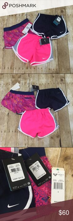"Girls active shorts Bundle of 3 NWT girls active shorts 1 pair of Roxy shorts (size 6) and 2 pairs of Nike (size 6x) - offers welcome, bundle 2 or more items in my closet using the ""bundle"" feature and receive 15% off of your total purchase! Nike Bottoms Shorts"