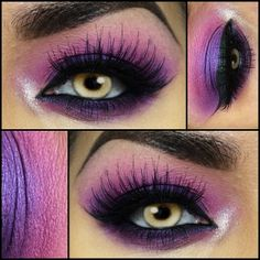 pink and purple eyes with highlight