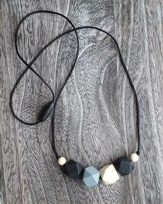 Geometric Bead Silicone Teething Necklace in Black, Grey, Cream – Sugarplum Collection Teething Necklace, Silicone Bead Necklace, Nursing Jewelry BPA Free, Food Grade Silicone, Non Toxic, Breakaway Clasp