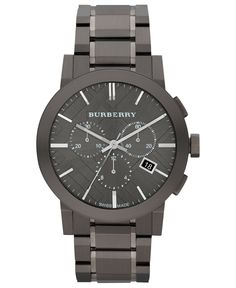 Burberry Watch, Men's Swiss Chronograph Gray Ion Plated Stainless Steel Bracelet 42mm BU9354 - All Luxury Watches - Jewelry & Watches - Macy's
