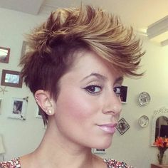 edgy pixie with balayage highlights