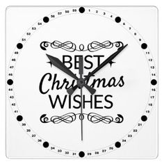 Black And White Best Christmas Wishes Square Wall Clock - black and white gifts unique special b&w style