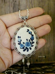 Items similar to Needle felted necklace with hand embroidered roses, pendant, romantic necklace, bohemian necklace on Etsy Embroidered Roses, Silk Ribbon Embroidery, Embroidery Jewelry, Hand Embroidery Patterns, Cross Stitch Embroidery, Embroidery Designs, Bohemian Necklace, Bohemian Jewelry, Felt Necklace