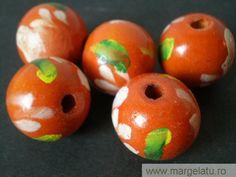 Margele lemn,portocalii cu flori,20mm