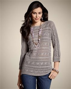 $40 - Travelers Collection Cable Knit Catiana Top - Chico's