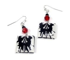 Black & White Rorschach Earrings polymer clay by BeadazzleMe  Happy Holidays #fashion #jewelry #earrings