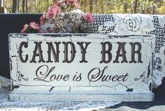 This is a brand new shabby cottage Wedding Sign that I have painted! I painted the background in a creamy ivory and lettered free hand, no stencils or vinyl, Candy Bar Love is Sweet in a rich espresso brown. The chippy crackle aging will vary slightly and the art and lettering will always be of the ...    $22