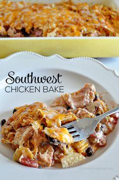 Super Simple Southwest Chicken Bake- make this yummy main dish and enjoy! www.thirtyhandmadedays.com