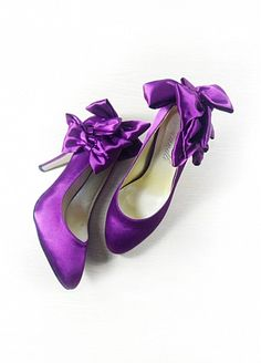 Junoesque Satin Purple High Heel Closed Toe Party & Evening Shoes With Bow