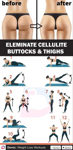 Eleminate Cellulite Buttocks & Thighs Best Picture For quick Cardio Workout Gym Fitness Workouts, Gym Workout Tips, At Home Workout Plan, Butt Workout, Workout Challenge, Easy Workouts, Workout Videos, At Home Workouts, Cellulite Workout