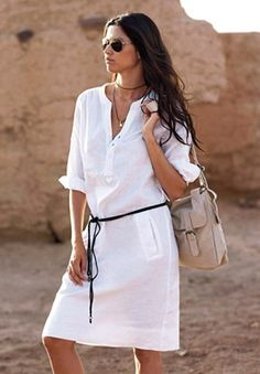 Belted Linen Blend Shift Dress