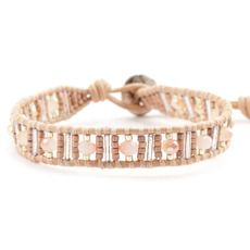 Champagne Mix Bead Single Wrap Bracelet on Peach Leather