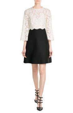 Valentino Wool-Silk Lace Cocktail Dress