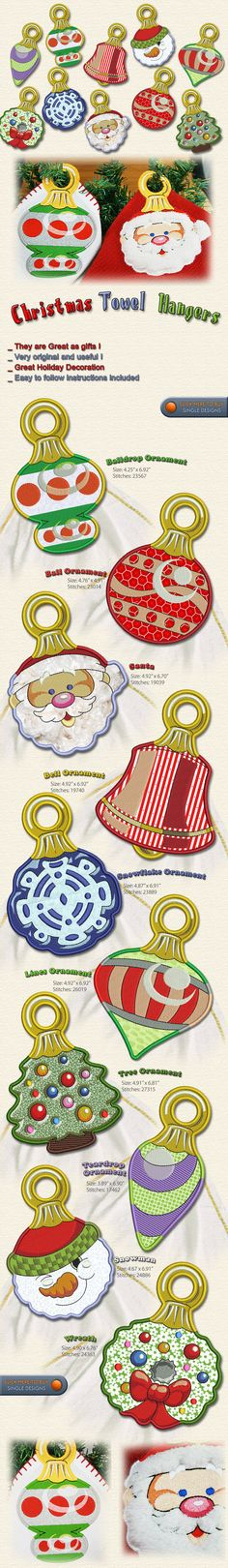 CHRISTMAS ORNAMENTS TOWEL HANGERS Embroidery Designs Free Embroidery Design Patterns Applique