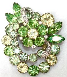 """Vintage Signed Eisenberg Brooch with Rhinestones Faceted Glass (2.5 x 2.125"""") 