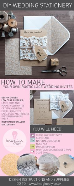 Rustic Lace Wrap DIY Wedding Invitations