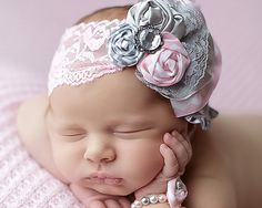 Infant Fabric Flower Rosettes Headband by MalishkaBoutique on Etsy