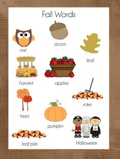 FREE Autumn Writing Centre word lists {by Anita Bremer}