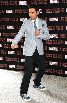 "Robert Downey Jr. on the ""Iron Man 3"" press tour.  Formal jacket/tie with casual pants and shoes is one of the sexiest things.. ever!! :)"