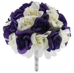 Purple and Ivory Silk Rose Hand Tie (3 Dozen Roses) - Bridal Wedding Bouquet >>> Check this awesome product by going to the link at the image.
