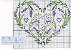 lavender heart cross stitch