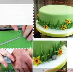 grass tutorial with mini daffodil flowers