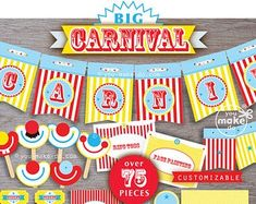 This item is unavailable Circus Theme Decorations, Carnival Party Favors, Carnival Invitations, Birthday Party Centerpieces, Carnival Birthday Parties, Circus Birthday, 1st Boy Birthday, Birthday Invitations, Invites