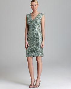 Tadashi Shoji Dress - V Neck Sequin Lace | Bloomingdale's