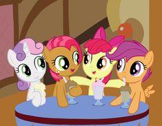 Cutie Mark Crusaders Havin' a milkshake! My favorite baby pony's Mlp Cutie Marks, My Little Pony Poster, Ganesha Drawing, Baby Pony, Sweetie Belle, Best Cartoons Ever, Little Poney, Imagenes My Little Pony, Pony Drawing