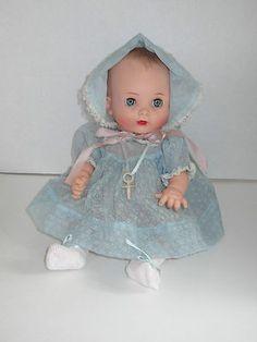 "Vintage Effanbee My Fair Baby 13"" Doll w Pacifier & Possibly Original Dress & Bonnet Set"